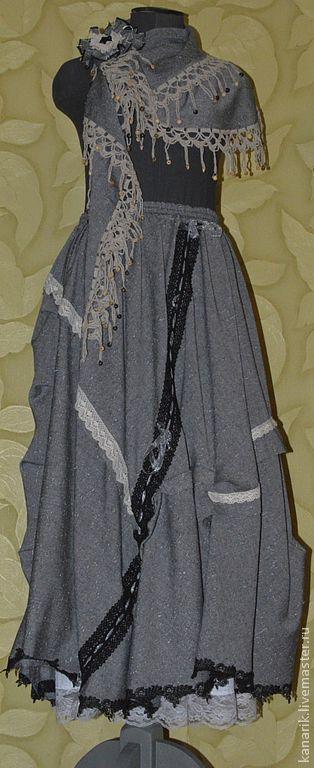 """Юбки ручной работы. Ярмарка Мастеров - ручная работа. Купить юбка """"Осень в БОХО"""" - 2. Handmade. Серый, юбка длинная"""