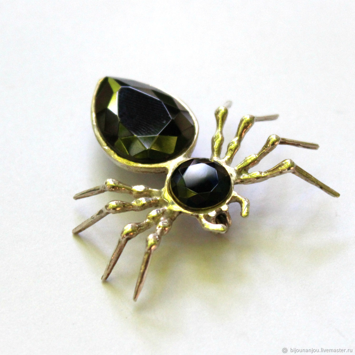 Black Spider brooch pendant in silver, blue and black spinel, Brooches, Yerevan,  Фото №1