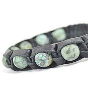 Украшения handmade. Livemaster - original item Leather bracelet with turquoise sabala. Handmade.