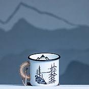 """Утварь ручной работы. Ярмарка Мастеров - ручная работа Эмалированная кружка """"Лес и горы"""" 400 мл.. Handmade."""