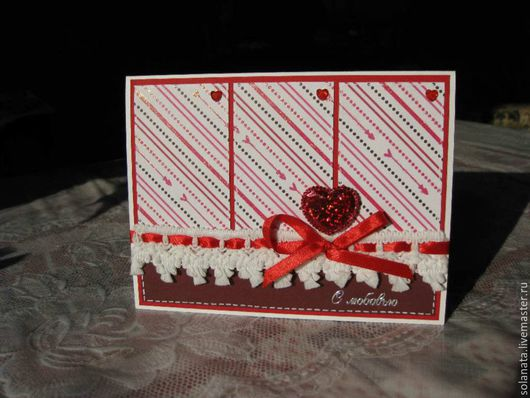 Валентинки ручной работы. Ярмарка Мастеров - ручная работа. Купить Валентинка 1.. Handmade. Ярко-красный, валентинка, кружево