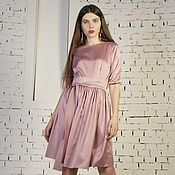 Одежда handmade. Livemaster - original item Fitted dress pink formal satin with a skirt in the Assembly. Handmade.