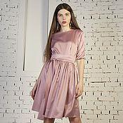 Одежда ручной работы. Ярмарка Мастеров - ручная работа Платье из атласа с юбкой в сборку. Handmade.