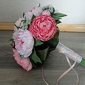 Свадебный салон ручной работы. Ярмарка Мастеров - ручная работа Классический букет невесты с розовыми пионами из полимерной глины. Handmade.