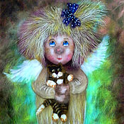 """Картины и панно ручной работы. Ярмарка Мастеров - ручная работа Картина шерстью """"Ангелочек с котиком"""". Handmade."""