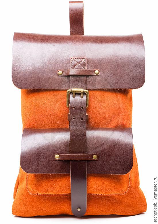 Backpack leather Gray orange, Backpacks, St. Petersburg,  Фото №1