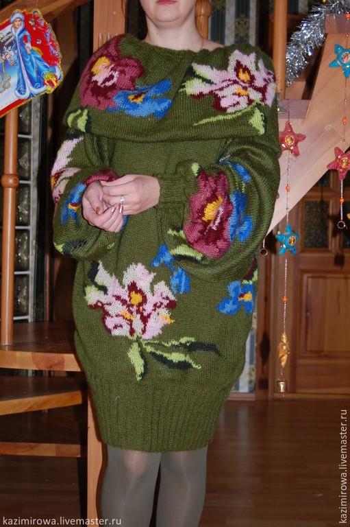 Кофты и свитера ручной работы. Ярмарка Мастеров - ручная работа. Купить Свитер с розами. Handmade. Оливковый, kenzo