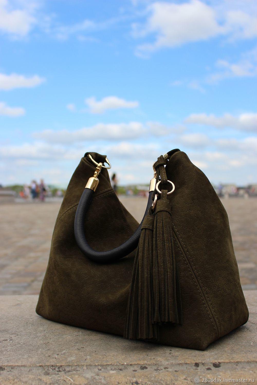 f6029b737828 Olga'S Luxury Женские сумки ручной работы. Заказать Замшевая сумка,  оливковый, сумка хобо зеленая.