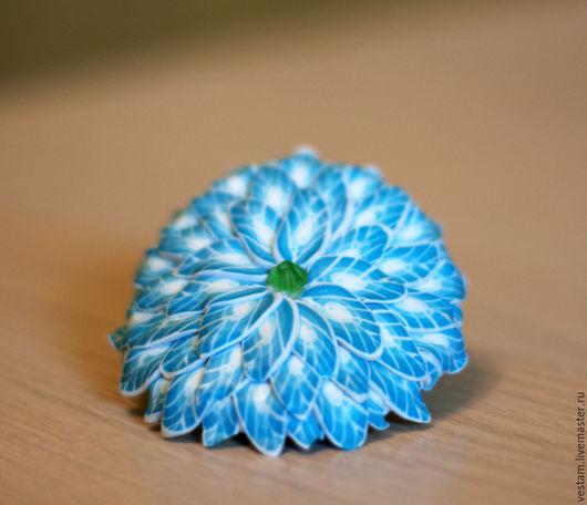 Броши ручной работы. Ярмарка Мастеров - ручная работа. Купить Брошь/заколка Бирюзовый цветок из полимерной глины. Handmade. Бирюзовый