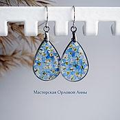 Украшения handmade. Livemaster - original item Transparent resin drop earrings with real flowers. Handmade.