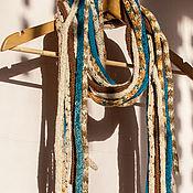 Аксессуары ручной работы. Ярмарка Мастеров - ручная работа Дредо-шарф беж и бирюза. Handmade.