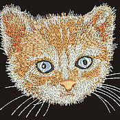 Дизайн и реклама ручной работы. Ярмарка Мастеров - ручная работа рыжий котенок дизайн машинной вышивки для вышивки над карманом. Handmade.