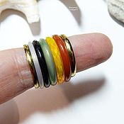 Украшения handmade. Livemaster - original item A set of rings 17.5 size No. №7 (carnelian, gold, chalcedony, agate). Handmade.