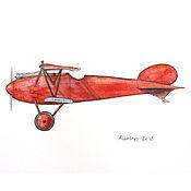 Картины и панно handmade. Livemaster - original item Red airplane Print airplane Retro. Handmade.