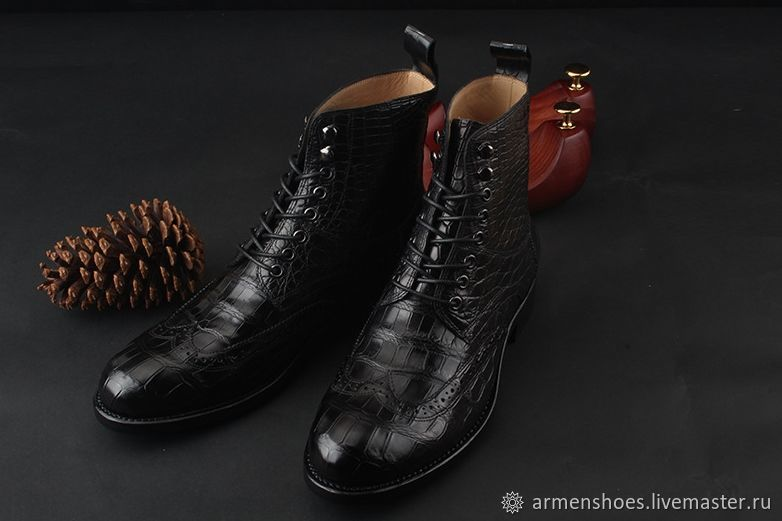 Brogues are too high, from the finest crocodile leather, black color, Brogues, Tosno,  Фото №1