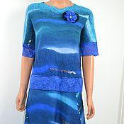 """Одежда ручной работы. Ярмарка Мастеров - ручная работа Авторское валяное легкое  длинное платье """" Bleu marin """". Handmade."""