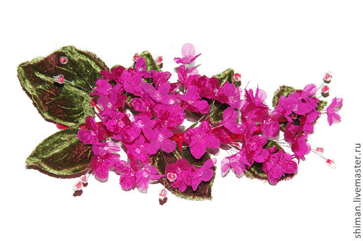 Сирень цвета фуксии из шелка. Цветы из ткани, Броши, Санкт-Петербург, Фото №1