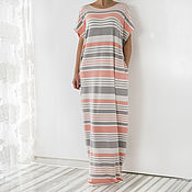 Одежда ручной работы. Ярмарка Мастеров - ручная работа Полосатое летнее длинное пляжное макси платье, кафтан, абайя. Handmade.