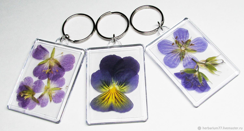 Эко Брелоки женские с настоящими сухоцветами прозрачные купить