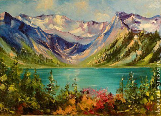 Пейзаж ручной работы. Ярмарка Мастеров - ручная работа. Купить Алтай. Handmade. Бирюзовый, горы, воздушный, подпрок, сюрприз