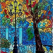 Картины и панно ручной работы. Ярмарка Мастеров - ручная работа картина на стекле - Городской пейзаж. Летний сад.. Handmade.