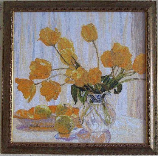 """Натюрморт ручной работы. Ярмарка Мастеров - ручная работа. Купить """" Желтые тюльпаны """". Handmade. Вышитая картина, эксклюзив"""
