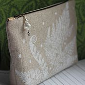 Сумки и аксессуары handmade. Livemaster - original item Cosmetic bag Fern in the snow. Cosmetic bag to buy a woman a gift. Handmade.