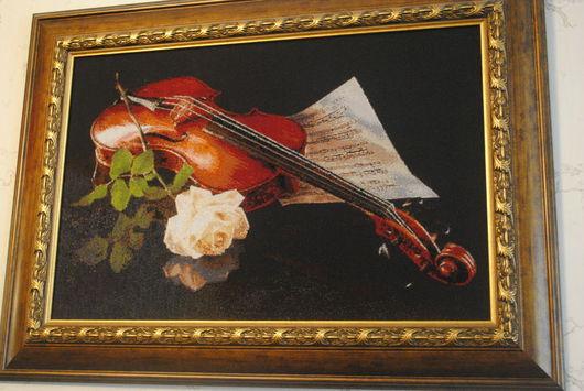 Натюрморт ручной работы. Ярмарка Мастеров - ручная работа. Купить Картина вышитая Скрипка. Handmade. Картина, вышивка, скрипка, натюрморт
