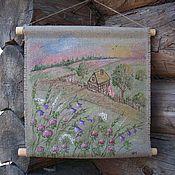 Картины и панно ручной работы. Ярмарка Мастеров - ручная работа Льняное панно-свиток...Уеду в деревню к бабушке.... Handmade.