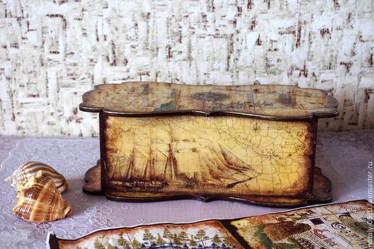 Шкатулки ручной работы. Ярмарка Мастеров - ручная работа. Купить Пиратский сундук. Handmade. Морская тема, купюрница, мужской подарок