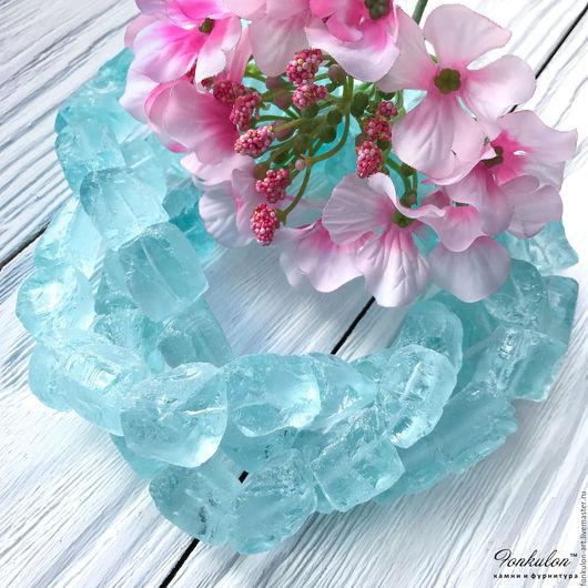 Для украшений ручной работы. Ярмарка Мастеров - ручная работа. Купить Аква-Кварц Светло-голубой необработанный бусины. Handmade.