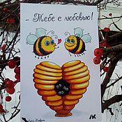 Открытки handmade. Livemaster - original item greeting card with cute bees