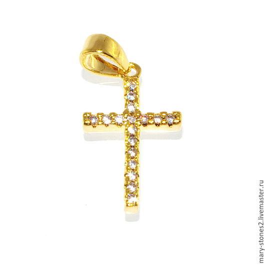 Для украшений ручной работы. Ярмарка Мастеров - ручная работа. Купить Подвеска крест с фианитами, желтое золото (Milano). Handmade.