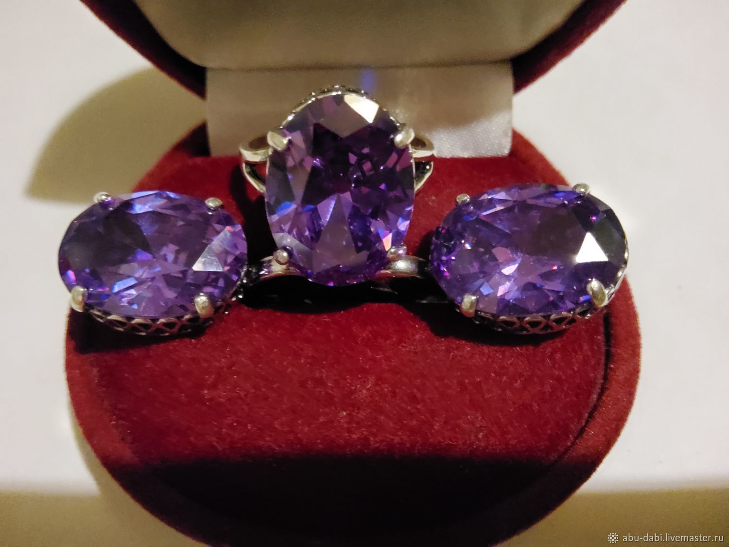 Set of AMETHYST silver Nickel silver:new year 1995,BEAUTY!, Vintage jewelry sets, Moscow,  Фото №1