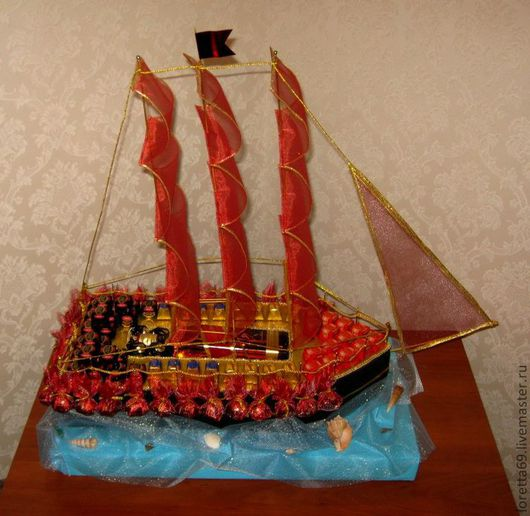 Букеты ручной работы. Ярмарка Мастеров - ручная работа. Купить корабль из конфет. Handmade. Букет из конфет, оригинальный подарок