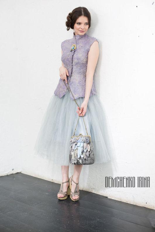 Женские сумки ручной работы. Ярмарка Мастеров - ручная работа. Купить Валяная сумочка «Голубые розы». Handmade. Войлок, утро