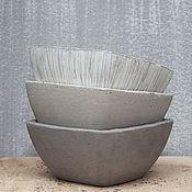Кашпо ручной работы. Ярмарка Мастеров - ручная работа Кашпо из бетона для цветов, суккулентов, кактусов серое. Handmade.
