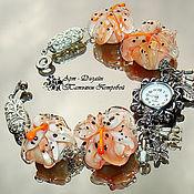 Часы наручные ручной работы. Ярмарка Мастеров - ручная работа часы ПЕРСИКОВЫЕ ЛИЛИИ, лэмпворк. Handmade.