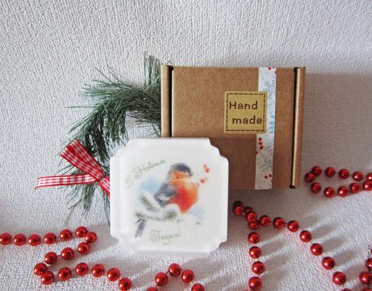 """Новый год 2017 ручной работы. Ярмарка Мастеров - ручная работа. Купить Мыло """"Снегирь"""", подарок на новый год, подарки, с новым годом 2017. Handmade."""
