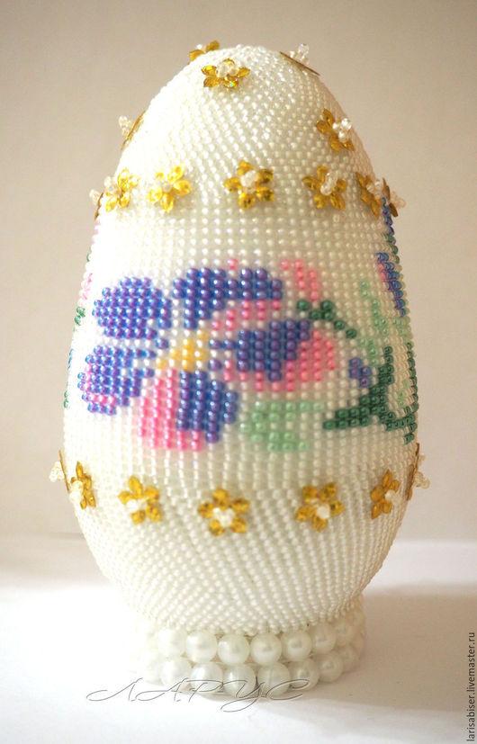 """Яйца ручной работы. Ярмарка Мастеров - ручная работа. Купить Яйцо  из бисера """"Фиалковая нежность"""". Handmade. Белый, пасхальный сувенир"""