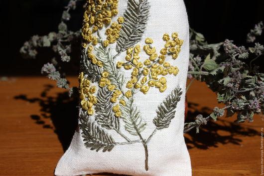 Текстиль, ковры ручной работы. Ярмарка Мастеров - ручная работа. Купить Льняной мешочек для трав. Handmade. Комбинированный, лен, саше