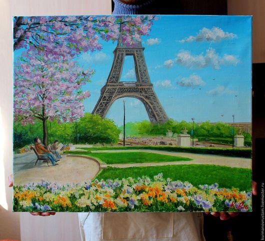 """Город ручной работы. Ярмарка Мастеров - ручная работа. Купить """"Париж"""". Handmade. Комбинированный, Париж, весна, цветущая вишня, природа"""