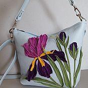 Сумки и аксессуары handmade. Livemaster - original item Bag Leather Women`s Crossbody Bag Hobo Small Iris Blue. Handmade.