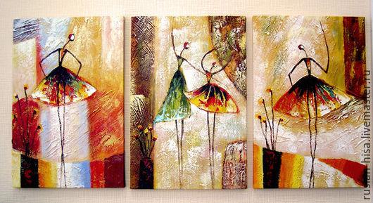 Абстракция ручной работы. Ярмарка Мастеров - ручная работа. Купить Балерины. Handmade. Бежевый, картина, купить подарок, живопись маслом