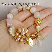 Украшения handmade. Livemaster - original item Bracelet Peach. quartz,  pearl. Handmade.