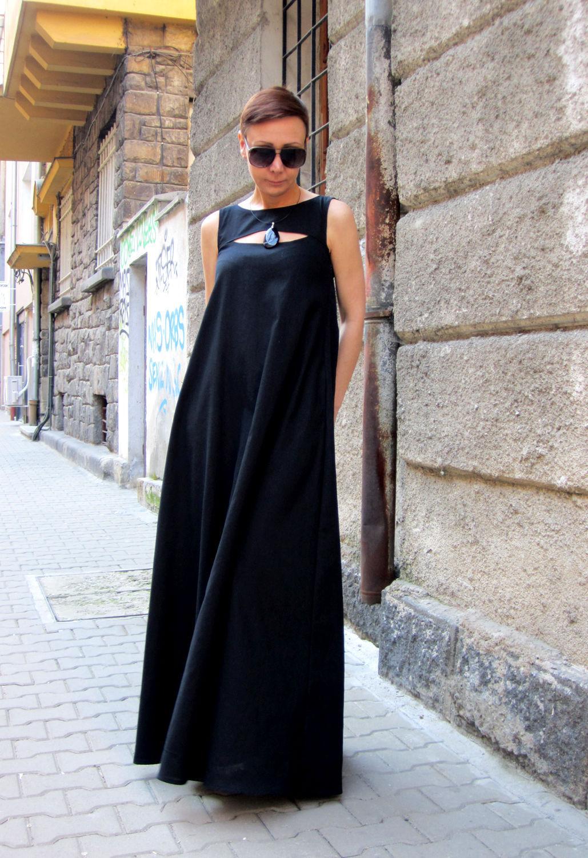 Платья ручной работы. Ярмарка Мастеров - ручная работа. Купить Черное платье из льна. Handmade. Платье, модное платье