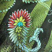 Ткани ручной работы. Ярмарка Мастеров - ручная работа Креп-жержет натуральный ссср коричневые полосы. Handmade.
