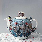 """Чайники ручной работы. Ярмарка Мастеров - ручная работа Чайник  """"Синичкин календарь.Зима"""". Handmade."""