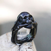 Украшения handmade. Livemaster - original item Men`s black silver ring with a skull. Handmade.