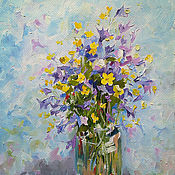 Картины и панно handmade. Livemaster - original item Bluebells and Buttercups Painting canvas oil 25h31 cm. Handmade.